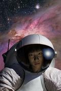female astronaut - stock illustration