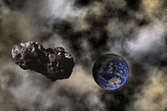 Asteroid approaching earth Stock Illustration