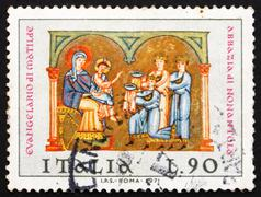 Postage stamp Italy 1971 Adoration of the Kings, Christmas Stock Photos