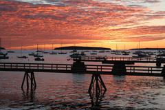 daybreak southwest harbor, maine - stock photo