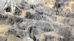 Warm Spring Water splashes and cascades down the rocks Stock Footage