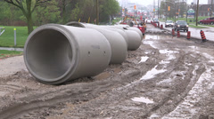 Road construction in the summer in the city. Stock Footage