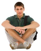 teenage student sitting - stock photo