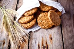 Crispy oat cookies and ears Stock Photos