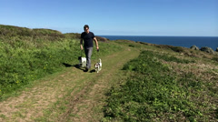 Man walking dogs on coastal path in super slow motion - stock footage