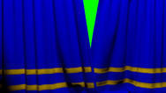 Stock Video Footage of Curtains opening and closing stage theater cinema blue with trim greenscreen key