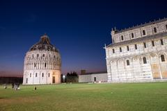 Stock Photo of Baptistery in Pisa, night view of Miracles Square
