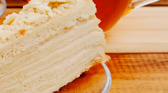 Served cake with tea Stock Footage