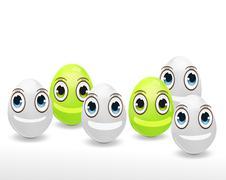 funny easter eggs happy design - stock illustration