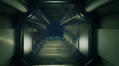Long straight open corridor spacecraft alien scary Stock Footage