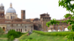 Cityscape of Mantova, Italy, selective focus. Stock Footage