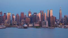 4K New York City Skyline Early Twilight 2 Stock Footage