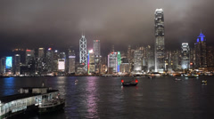 Hong Kong Night Skyline Aqua Luna - stock footage