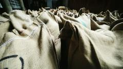 Jute sacks of coffee Stock Footage