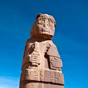monolith at tiwanaku, altiplano, titicaca region, bolivia - stock photo