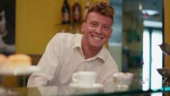 1of6 People, bar, cafeteria, happy man working as barman, smiling - stock footage