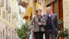 1of7 Happy people, leisure, lifestyle, senior, old man, woman shopping Stock Footage