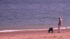 Old man walks dog on beach - stock footage