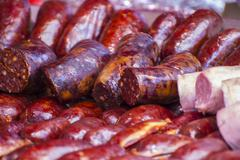 grill, artisan sausages in a medieval fair - stock photo