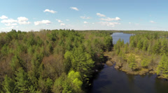 Spring Cottage Lake Aerial 07 Stock Footage
