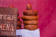 spanish artisan sausages in a medieval fair - stock photo