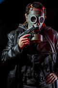 Private detective with bulletproof vest and gas mask, gear Stock Photos
