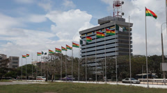 Flags and Official Building in Accra, Ghana Stock Footage