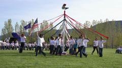 May Pole dance children unwind 4K 0299 Stock Footage