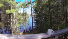 Spring Cottage Lake Aerial 09 - Coffee Cup Stock Footage