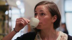 2of6 People, bar, cafeteria, girl, female client drinking espresso coffee Stock Footage