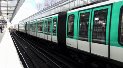Subway in Paris metro station metropolitain - stock footage