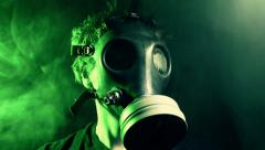 Gas mask man Stock Footage