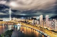 Macau, china. aerial view of city buildings and tower at night Stock Photos