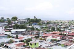 Ilmakuva hökkelikylissä Panama City, Panama Kuvituskuvat