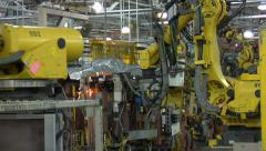 Stock Video Footage of Automated Robotic Time Lapse Welding Shot Automation Car Parts