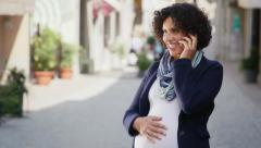 3of7 Happy people, leisure, lifestyle, pregnant woman talking on the phone Stock Footage