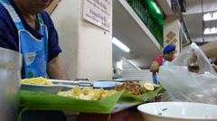 Thai style kway chap stall in Chiangmai, Thailand (cm---11b) Stock Footage