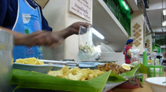 Thai style kway chap stall in Chiangmai, Thailand.(CM--10B) - stock footage