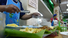Thai style kway chap stall in Chiangmai, Thailand.(CM--10a) - stock footage