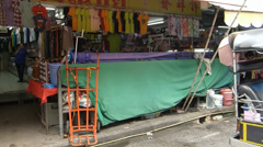 A row of shops stalls at Chinatown of Chiang Mai, Thailand. Stock Footage