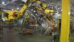 Automated Robotic Arm Welds Automotive Car Part Motor City Automation - stock footage