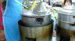 Steaming and selling sago pork at a market, Chiang Mai, Thailand(CM--23) Stock Footage