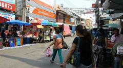 A street at Kad Luang market, the biggest in Chiang Mai, Thailand (CM--32) Stock Footage
