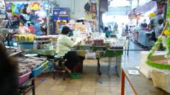 Warorot Market or Kad Luang Chiangmai, Thailand Stock Footage