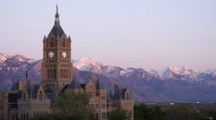 Salt Lake City and County Building sunset Stock Footage