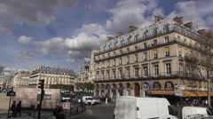 Typical street corner in the city of Paris Stock Footage