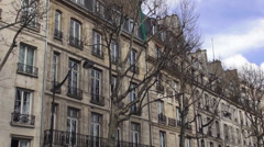 Typical mansions and expensive apartments in the city of Paris - stock footage