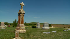 Kansas cemetery in the Flint Hills Stock Footage