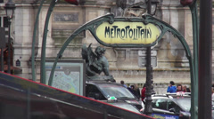 subway entrance metropolitain paris - stock footage