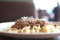 Spaghetti fettucine bolognese Stock Photos
